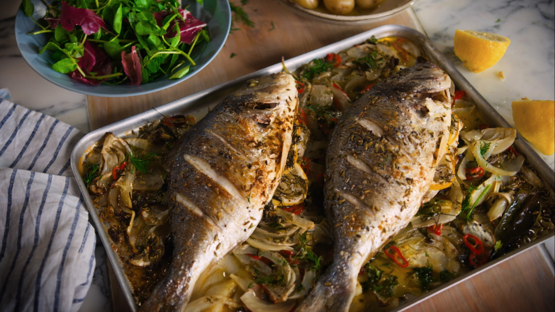 Roasted Sea Bream With Fennel And Chilli Lurpak