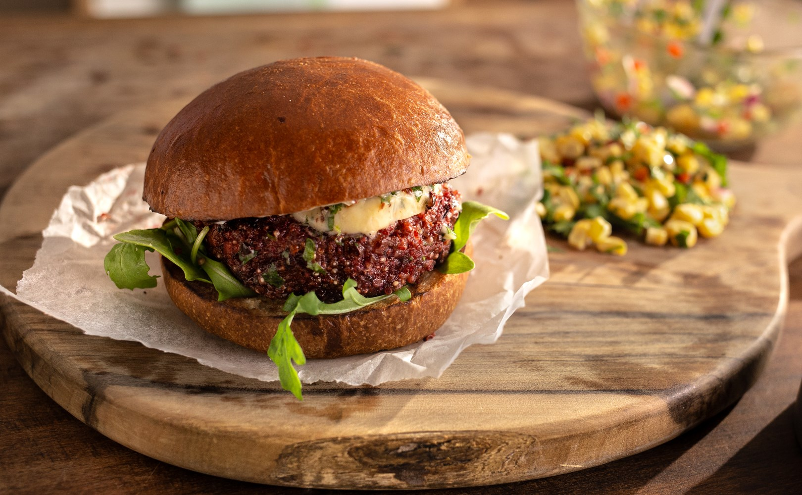 Lurpak Veggie Burger with beetroot