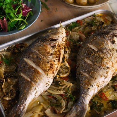 Roasted Sea Bream with fennel and chilli