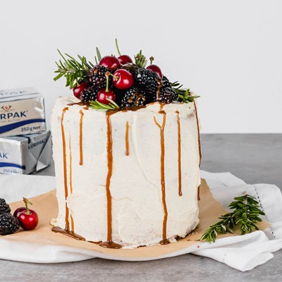 Lurpak Brown Butter Cake with Brown Butter Frosting & Fresh Berries
