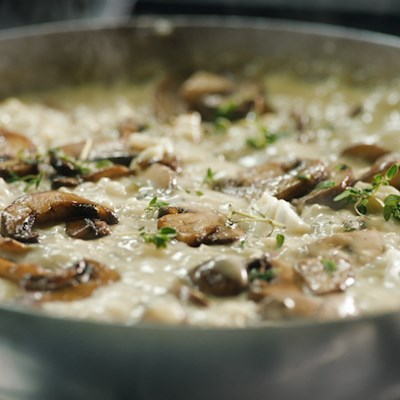 Mushrooms and Blue Cheese Risotto with Thyme