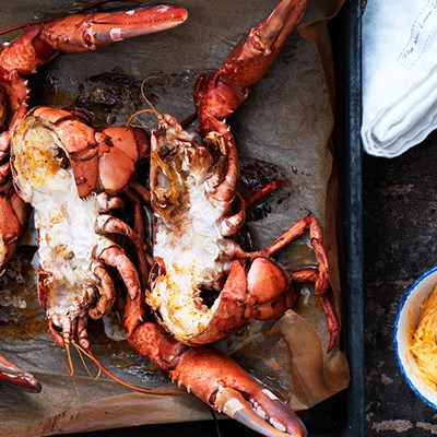 Grilled Lobster with Harissa Butter