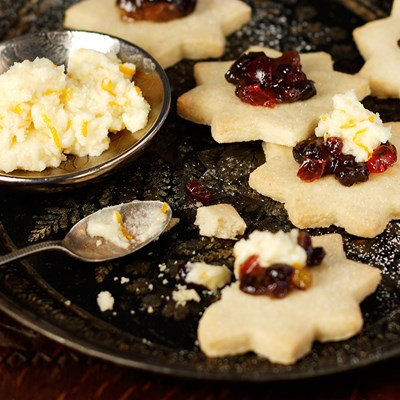 Shortbread Stars with Mincemeat and Orange Brandy Butter