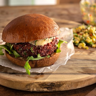 Veggie burger with chipotle butter and sweet corn salsa