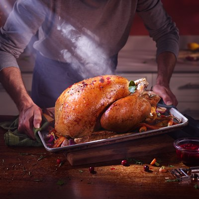 ROAST TURKEY WITH ORANGE AND CRANBERRY GLAZE