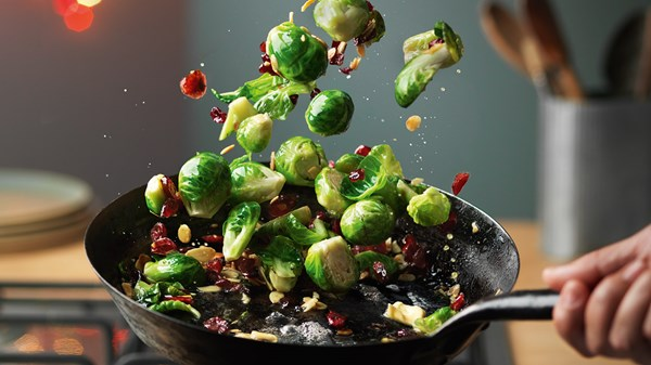 Pan Fried Sprouts with Cranberries & Flaked Almonds