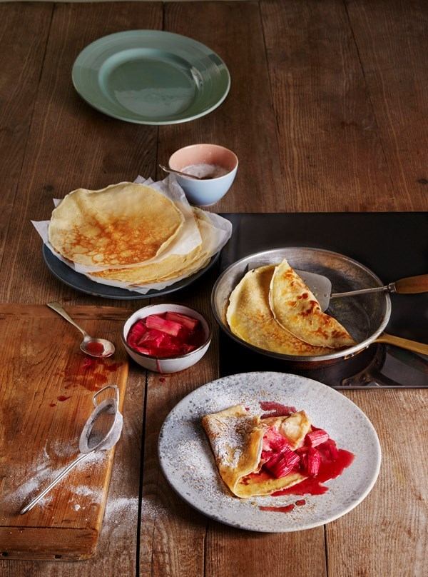 Crepes with rhubarb and rosewater compote