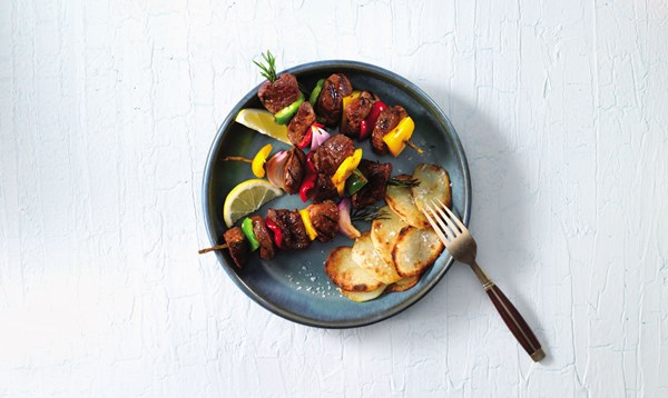 Lamb Kebabs with Crispy Potatoes
