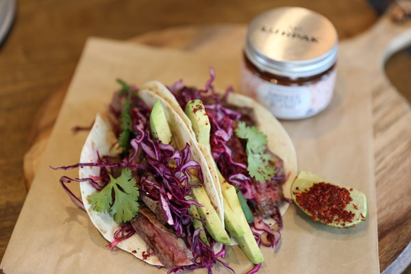 SKIRT STEAK TACOS WITH CHIPOTLE BUTTER