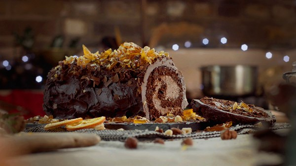 Chocolate and Clementine Buche De Noel with Hazelnut Caramel Shards