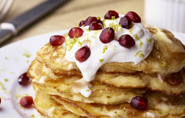Coconut Pancakes with Pomegranate and Yoghurt