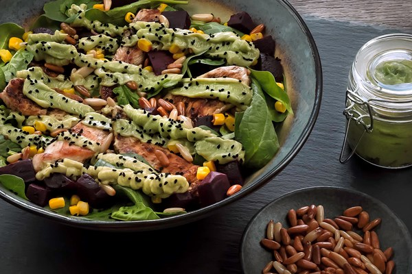 Baby Spinach Salad with Pine nuts, Guacamole, and Grilled Chicken