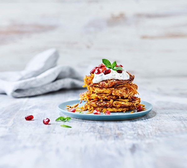 Sweet Potato Pancakes with Mint Yoghurt and Pomegranate