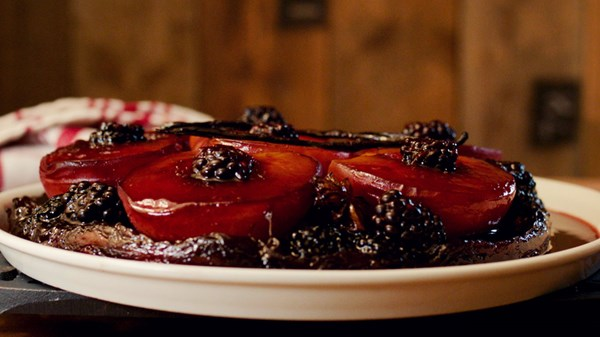Peach and Blackberry Tarte Tatin