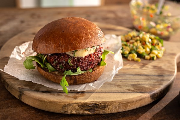 BEETROOT, QUINOA AND BLACK BEAN BURGER WITH CHIPOTLE BUTTER AND SWEET CORN SALSA