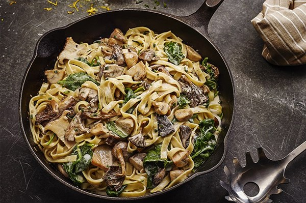 Wild Mushroom and Spinach Tagliatelle with Toasted Chive Breadcrumbs